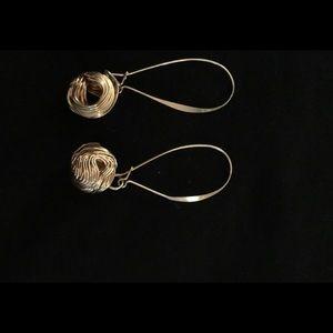Gold Dangling/Gold Ball Pierced Earrings